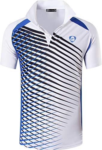 jeansian Camiseta Deportiva de Manga Corta para Hombre Polo Poloshirt tee Shirt Tshirt T-Shirt Bolos Dry Fit Golf Tenis LSL243 White S