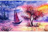 ナンバーキットボートによるペイントペイントブラシとアクリルピグメントアーツクラフトを使用したキャンバス上のDIY油絵キット家の壁の装飾用40×50cmフレームレス