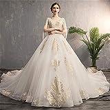 QinWenYan Bridal Dress Chiffon Word Shoulder V-neck Short Paragraph Elegant Sleeves Elegant Long Evening Dress (Color : White, Size : M)