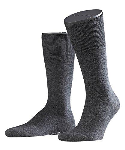 FALKE KGaA FALKE Airport Herren Socken asphalt mel. (3180) 49-50 klimaregulierend durch Schurwolle