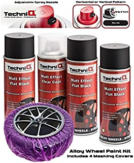 TechniQ - Juego de Pintura para Llantas de aleación de Color Negro Mate (3 latas de 400 ml, 4 Unidades de Laca Transparente con Efecto Mate Especial)