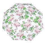 Paraguas de Bolsillo Fino Flamingo Ligero Compacto a Prueba de Viento automático Plegable Paraguas de Viaje Blanco Blanco Talla única