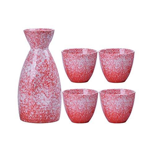 N / C Juego de Sake de cerámica de 5 Piezas, Copa de Vino Japonesa para Servir, diseño humanizado, Incluye 1 Botella 4 Tazas, para Juegos domésticos comerciales