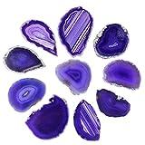 KYEYGWO 10 dischi di agata irregolari in agata, senza fori, agata lucidata, per la guarigione, decorazione della casa, gioielli, fai da te e per la guarigione, colore: viola