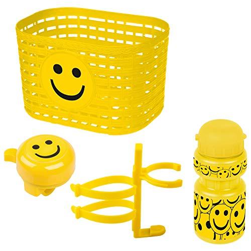Ventura Unisex – Set di accessori per bicicletta per bambini, cestino, campana, borraccia, giallo