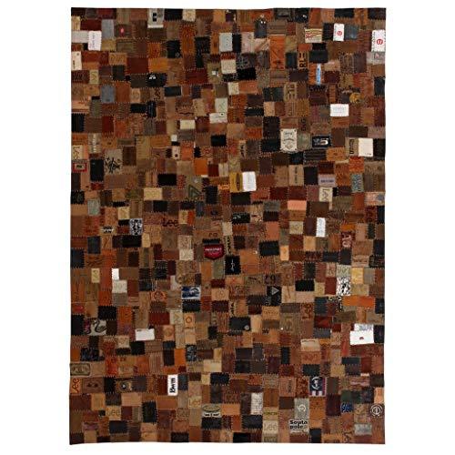 vidaXL Teppich Echtleder Jeans-Label Patchwork 120x170cm Braun Lederteppich