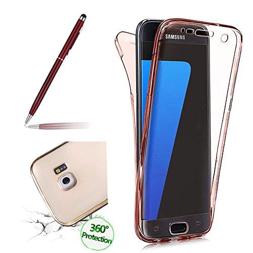 für Galaxy S7 Hülle, Clear Cover für Samsung Galaxy S7 360 Grad Full Body Silikon Schutzhülle, Girlyard Ultra Dünn Weiche TPU Transparent Vorne Hinten Komplett Schutz Handyhülle (Klar Rose Gold)