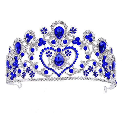 Heren Bruid Kroon, Nieuwe Barok Headdress Luxe Tri-color Strass Steentjes Bruiloft Haaraccessoires Bruidsjurk Accessoires Blauw
