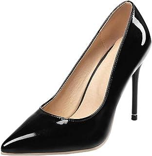 LOVOUO Stilettos Escarpins Vernis Femme Talon Aiguille Haut Sexy Chaussure Bout Pointu 10CM