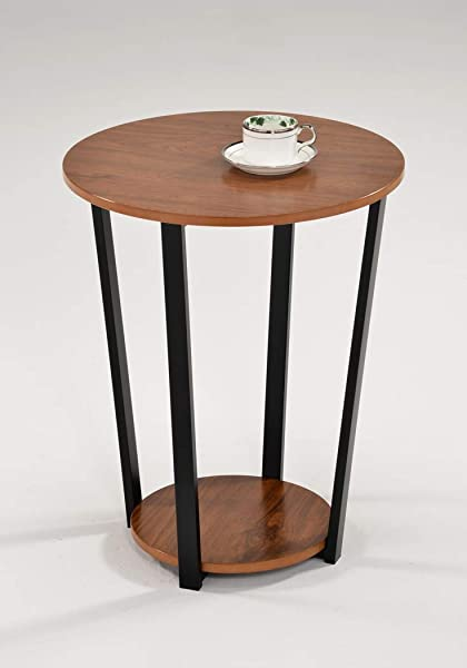 Dark Oak Finish And Black Frame Round Sofa Side Snack End Table With Bottom Shelf