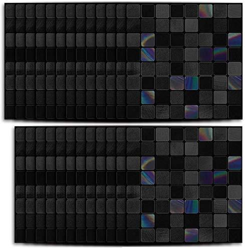 25 piezas de cocina de espalda pegatina de azulejos de mosaico negro estilo impermeable festival de aceite pegatina azulejos de mármol auto adhesivo para baño decoración de sala de estar oscuro gris o