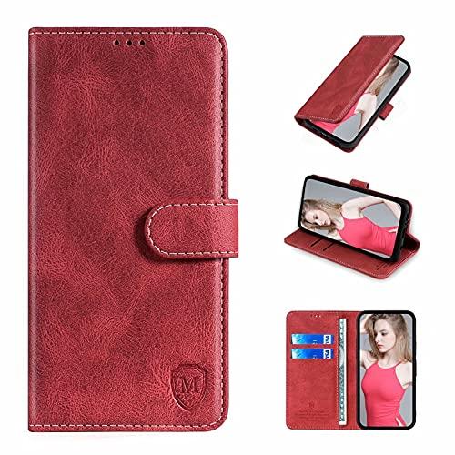 xinyunew Wallet Serie Handyhülle für Oppo A55 5G/A53S 5G/A53 5G Hülle Leder Flip Hülle Cover Schutzhülle für Oppo A55 5G/A53S 5G/A53 5G Tasche, Rot