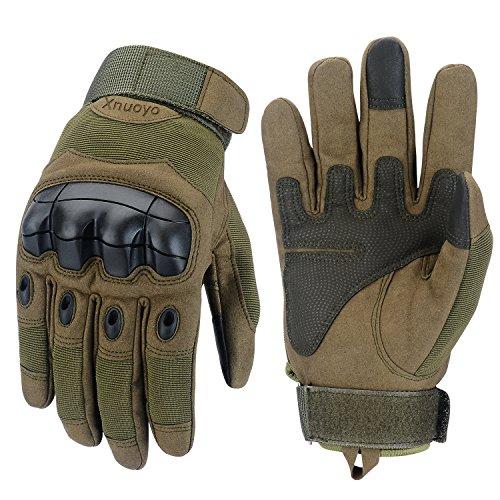Xnuoyo Gomma Dura Knuckle Guanti da dito pieno Guanti di protezione Guanti touch screen per moto Ciclismo Caccia Arrampicata campeggio (Army Green, Large)
