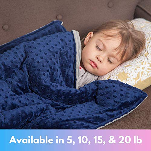 Roore 5 lb Weighted Blanket for Kids I 36'x48' I Weighted Blanket with Plush Minky Blue Removable Cover I Weighted with Premium Glass Beads I Perfect for Children from 40 to 60 lb