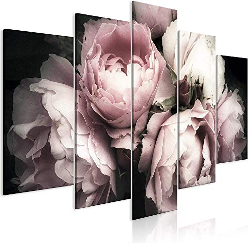 DFBSF Fem heminredning i trä canvasmålningar/röd blomma-30 x 40 cm 30 x 60 cm 30 x 80 cm/heminredningsmålningar, abstrakta målningar som används i sovrum, vardagsrum, babyrum, etc.
