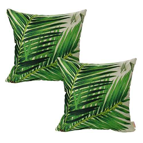 Luxbon Set of 2pcs Green Sago Cycas Leaf Cushion Cover 45x45cm Bamboo Leaves Durable Cotton Linen Throw Palm Leaves Pillowcase Home Decors Decorative Gifts 18X18 inch