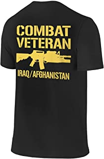 Combat Veteran Iraq and Afghanistan Men Short Sleeve Crew Neck (Front/Back Print) T-Shirt