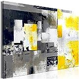murando Cuadro en Lienzo Abstracto 90x60 cm 1 Parte Impresión en Material Tejido no Tejido Impresión Artística Imagen Gráfica Decoracion de Pared Gris Amarillo Blanco Negro a-A-0434-b-a