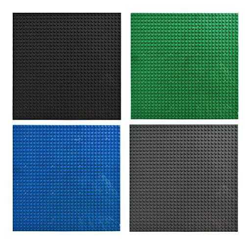 THETHO 4 Pcs Bases Clásicas para Construir de 25.5x25.5cm Ladrillos separadores para Las Niñas Niños Base para Lego Classic Placas Base para la Construcción de Torres, Mesas (Negro, Gris, Verde, Azul)