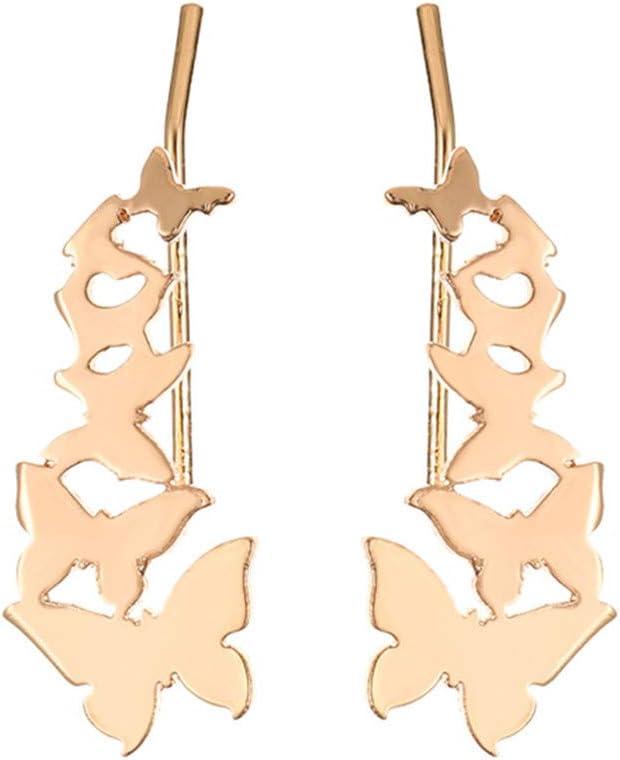 Idiytip 1Pair 3D Butterfly Shape Earrings Hypoallergenic Butterfly Cuff Ear Clip