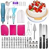 Pasutewel - Plato giratorio de tarta 124 kit de repostería con forma de pasteles giratorios, boquillas para repostería (acero inoxidable)