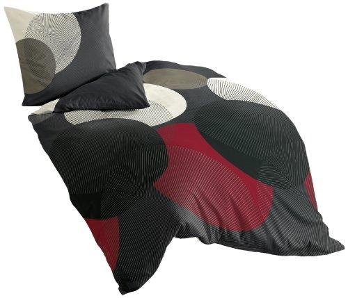 Bierbaum Bettwäsche 6155, Mako-Satin, Made in Germany, rot 13, 155x220 + 80x80 cm, Komfortgröße