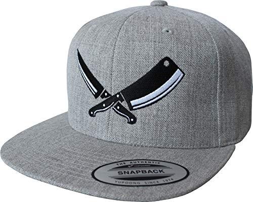 Cap: Butcher - Grill Grillen Metzger Fleischer Messer Koch-Mütze - Flexfit Snapback Urban Streetwear Basecap - Geschenk Männer Mann Frau-en - Baseball-cap Kappe - Arbeit-s Work-Wear (Grau)