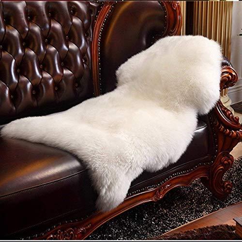 HLZDH, Tappeto, in pelle di pecora, agnello sintetico, pelliccia sintetica decorativa, super soffice, pelo lungo, effetto pelliccia, per divano/letto, bianco, 90 x 60 cm
