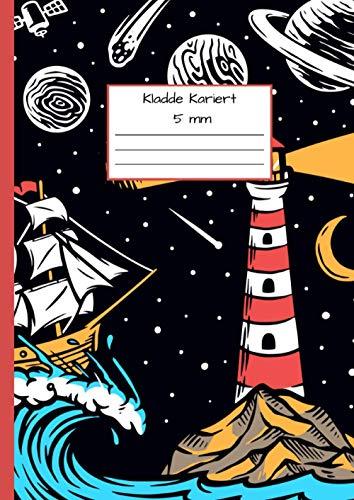 Kladde Kariert 5 mm: Notizbuch DIN A4 - Kladde kariert 5 mm - 110 Seiten - Notizheft, Tagebuch, Schreibbuch - Leuchtturmzeichnung