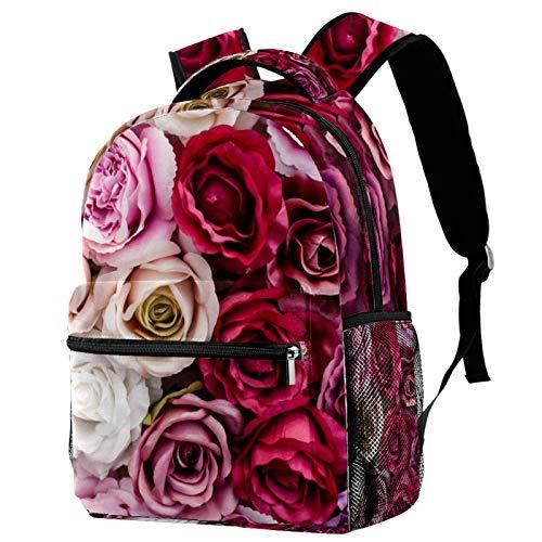 Backpack for Girls Rose Floral Spring Women Daily Bag Travel Backpack 29.4x20x40cm