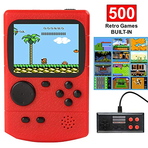 SEOBIOG Retro Handheld Games Console for Kids/Adults, Built-in with 500 Classic Games Double Players Mode Miniature Console Handheld Portable Game (Red)