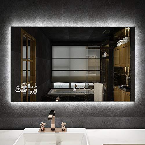 byecold Badspiegel mit LED Beleuchtung Wandspiegel Badezimmerspiegel Lichtspiegel Spiegel Touchschalter Smart WiFi Antibeschlag Wetter Datum Temperatur Luftfeuchtigkeit-Horizontal 100x 60CM