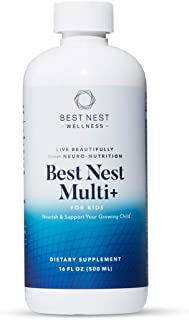 Best Nest Multi+ for Kids, Liquid Multivitamin, Methylfolate (Folic Acid), Methylcobalamin, Complete, Natural Whole Food B...