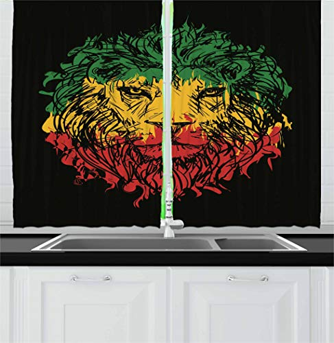 "Ambesonne Rasta Kitchen Curtains, Ethiopian Flag Colors on Grunge Sketchy Lion Head with Black Backdrop, Window Drapes 2 Panel Set for Kitchen Cafe Decor, 55"" X 39"", Lime Green"