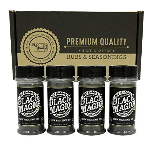Charcoal Seasoning Dry BBQ Rub (5 oz.) – 4-Pack Black Magic Charcoal Grill Seasoning Best for Briskets, BBQ Burger, Ribeyes, Pulled Pork, Beef Steaks, Pot Roast, and Grilled Fish