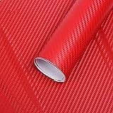 Minleer Stickers Pellicola (2 Pezzi), 3D Carbonio Adesiva Foglio, Rivestimento Adesivo 3D di Vinile in Fibra di Carbonio per Auto, Impermeabile, Anti Bolle (152 x 30 cm) (Rosso)