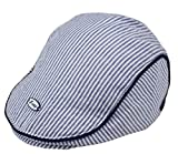 Baby Newsboy-Cap Striped Beret - Toddlers Cotton Gatsby Ivy Cabbie Flat Cap for 1-3 Years (Blue, Adjustable)