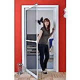 Premium Slim PLUS Fliegengitter für Tür als Alubausatz mit Fiberglasgewebe - Profi Insektenschutz - 100 cm x 210 cm weiß