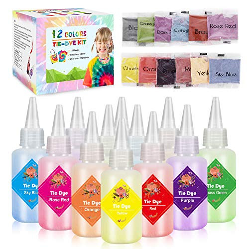 Emooqi Tie Dye Kit, Textiles de Tela 12 Piezas Colores Vibrantes Adecuado para Arte de Bricolaje Tie-Dye para Niños y Adultos (12 Colores)