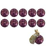 Maotrade 10 Bolas Heno Conejos, Cobayas Accesorios con Flor de Rosa Natural y Hierba,Adecuado para Accesorios de Conejillo de Indias, Hámster, Totoro y Conejo Juguete