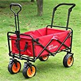 Garden Cart Portable Folding Trolley Outdoor Four-Wheel Trolley Camping Car Shopping Fishing Trolley Carts (Color : Rose Red Size : 75cm)