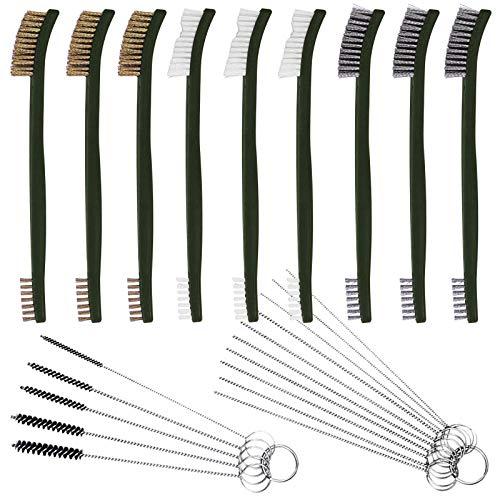 Juego de 9 cepillos de alambre con limpiador de carbohidratos, FineGood para limpieza de detalles de coche, 3 cepillos de latón, 3 cepillos de acero, 3 kits de herramientas de nailon