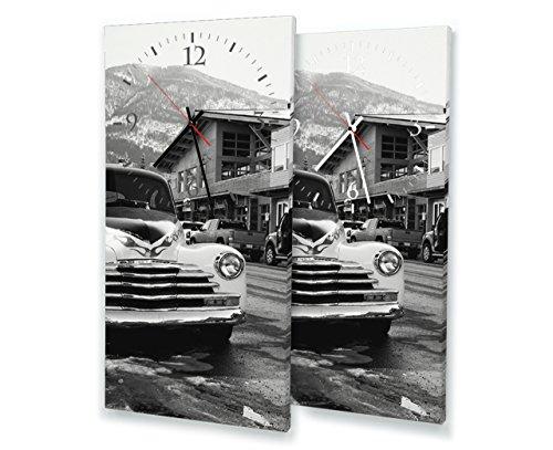Printalio - Oldtimer Vintage - Lautlose Wanduhr mit Fotodruck auf Leinwand Keilrahmen | geräuschlos kein Ticken Fotouhr Bilderuhr Motivuhr Küchenuhr modern hochwertig Quarz | 30 cm x 60 cm mit weißen