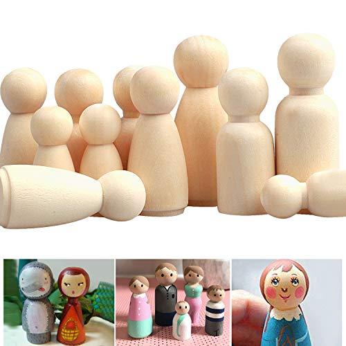 Camelize Holzfiguren Puppen,50 Stück Unvollendete Holz Familie Figuren,DIY natürliche Holzfiguren Hochzeit für Geburtstag Dekoration Bemalen Basteln