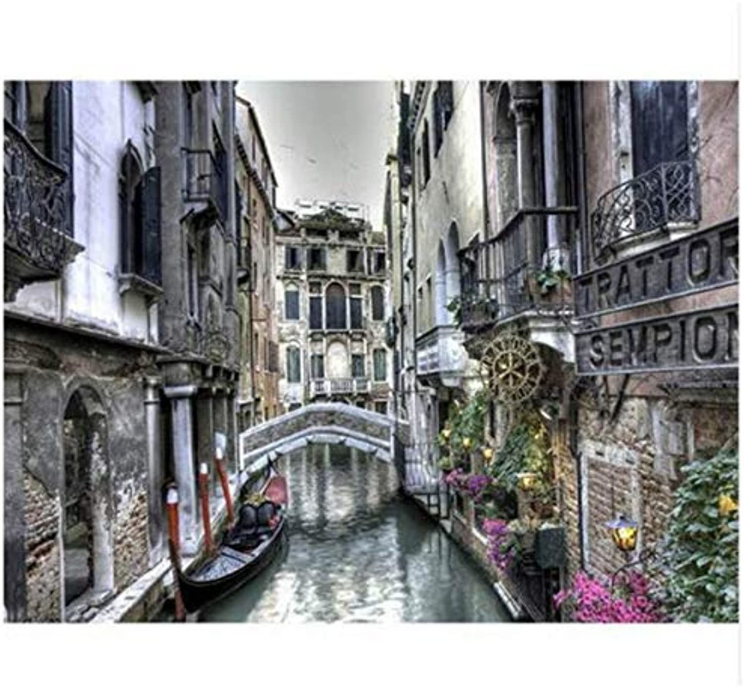 UPUPUPUP Landscape Painting For Living Room Decoration,Venice,Drawing By Numbers Wall Art,Tworidc550X70Cm Framed