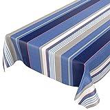 ANRO Mantel de hule lavable, para jardín, redondo, ovalado, rectangular, para interior y exterior, a rayas, azul, 100 x 140 cm