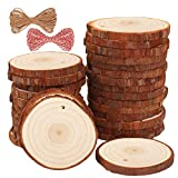 Fuyit Natural Wood Slices 30 Pcs 2.4-2.8 Inches Craft Wood Kit Unfinished Predrilled with ...