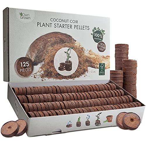 OwnGrown Kokos Quelltabletten mit Nährstoffen: 120 Premium Quelltabs aus Anzuchterde torffrei, ohne Pikieren – Kokoserde gepresst zur Pflanzen Anzucht, Anzucht Erde Kokos, Anzuchterde für Stecklinge