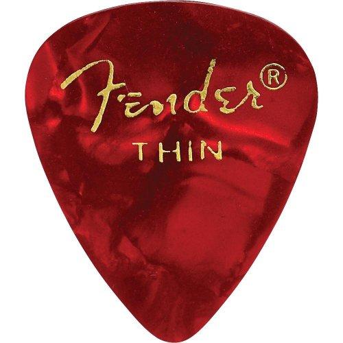 Fender 351 Shape Thin Classic Celluloid Picks, 12-Pack, Red Moto para guitarra eléctrica, guitarra acústica, mandolina y bajo