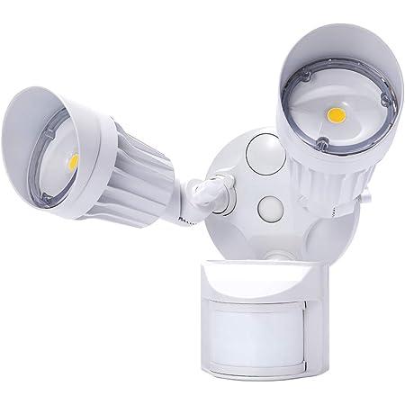 Waterproof IP65 for Garage ETL//& DLC Listed Newly Designed 3 Lighting Modes LEONLITE 2 Head LED Outdoor Security Floodlight Motion Sensor 5-Year Warranty White 1800lm Porch 3000K Warm White